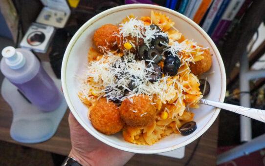 "Pasta and ""Meatballz"" /w Vegan Parm"